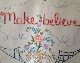 Make Believe, Modern Tapestry, Hand Embroidered, Pastel bedroom art, Butterfly, Cottage chic, Boho