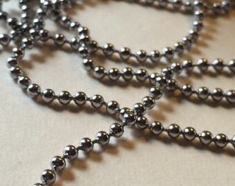 "Rust Free - Tarnish Free Stainless Steel 2.4mm Ball Chain - 34"" necklace"