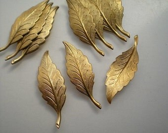 12 brass leaf charms, No. 3