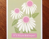 Birthday card, Coneflower art
