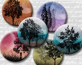Moonlight Trees Digital Collage Sheet 18mm 16mm 14mm 12mm Circle Round on 4x6 and 8.5x11 Sheets for Earrings Pendants Cuff Links Image