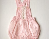 Vintage Pink polka dot and lace jumper romper with waterproof lining 3 to 6 months