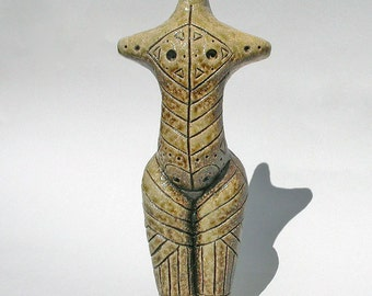 Soda Fired Incised Cucuteni Figurine