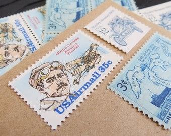 Traveler .. Gentleman .. UNused Vintage Postage Stamps  .. post 5 letters