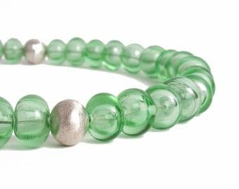bright green handmade hollow glass beads