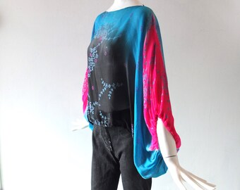 Printed Silk Chiffon Sexy Summer Sheer Boat Neck Harem Sleeve Blouse - Size SM - MED - Gathered Grecian Sleeve - Turquoise Teal Magenta Pink