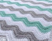 Mint Baby Blanket - Chevron Baby Blanket - Mint Green Blanket - Crochet Baby Blanket - Gray Chevron - Mint Nursery Bedding