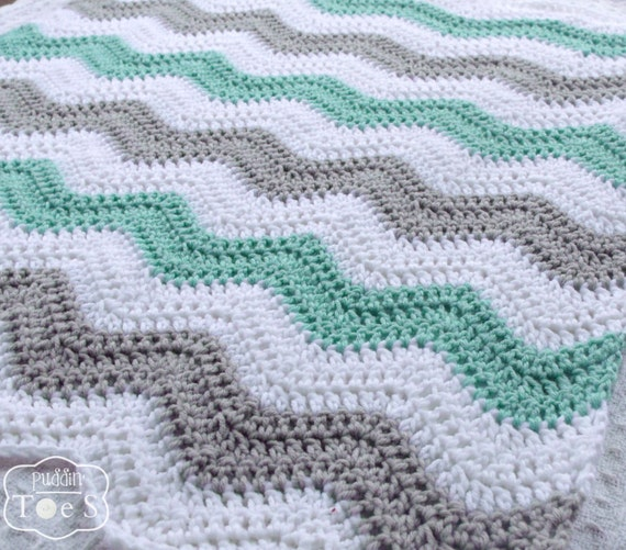 Mint baby blanket chevron baby blanket by prairieheartstrings - Baby deko mint ...