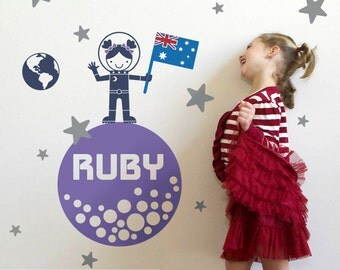 Moon Walk Girl Wall Decal Outer Space Girl Baby Nursery Personalized Name & Country Flag