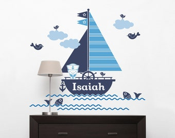 Sailboat Boy Name Wall Decal Personalized Nautical Baby Boy Nursery Ocean Wall Stickers Sea Life Room Decor