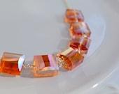 Orange Carnival Glass Necklace