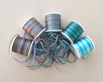 Ocean Mix - 15 metres of 2mm variegated silk ribbon