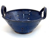 Ceramic Cobalt Blue Colander or Berry Bowl Set Wheel Thrown