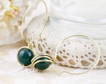 """Hoop drop earrings - Hoop 3/4"""" - Chinese jade"""