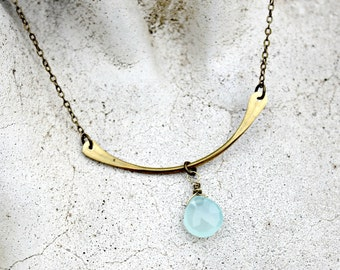 Hammered Brass Bar Necklace, Aqua Chalcedony Gemstone,  Wire Wrapped, Simplistic, Petite Necklace, Gift for Her