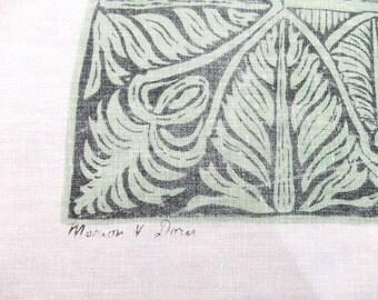 Marion Dorn Linen Tablecloth Green Print Mid Century