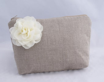 Bridesmaids Gift Bag Cosmetic Gift Bag in Neutral Oatmeal linen with ivory flower Gift for Bridesmaids- READY TO SHIP