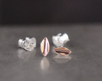 Gold Leaf…petite 14k gold earrings on sterling silver post backs