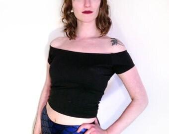 Black Crop Top Tee Shirt // Womens Pin Up Girl Rockabilly Top // Grease Sandy Sandra Dee Costume Shirt