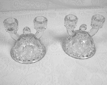 """Imperial Glass  1942  Pair of Clear Glass """"Tradition""""  Series  Double Arm Candle Holders"""
