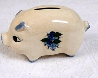 Vintage Ceramic Piggy Bank  blue flower and spatter decoration