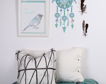 Fabric Wall Decal - Dreamcatcher - Blues (reusable) NO PVC