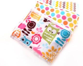 Girl Burp Cloths -Pink Green Yellow Owls Burp Cloth -  Dots Flowers- Set of 3 Girls