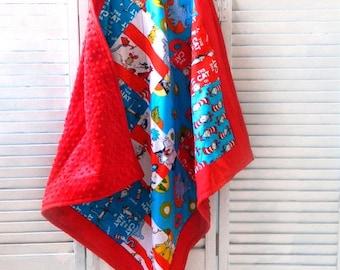 Dr Seuss Minky Baby Blanket Boy Girl, Red Yellow Blue White