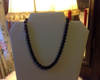 Vintage black glass faceted bead necklace