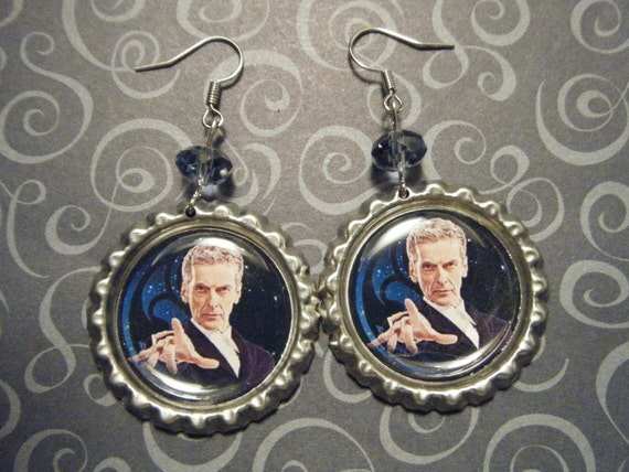 indieodyssey-The Twelfth Doctor Peter Capaldi Doctor Who inspired bottle cap earrings with blue glass beads