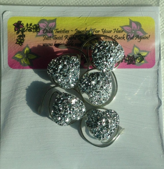 Faux Druzy Hair Swirls Silver Sparkle Hearts  Proms, Dancers, Skaters, Bridesmaid Updos