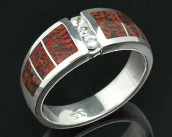 Dinosaur Bone Wedding Ring with White Sapphires by Hileman Silver Jewelry