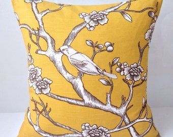 Decorative Throw Pillow Cover Yellow Pillow Cushion Accent Birds Bird Pillow