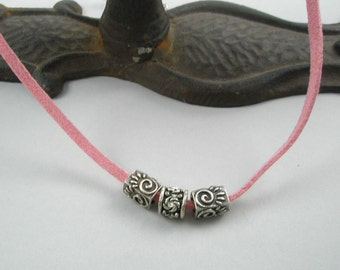 Pink Suede Chain with Pewter Charms