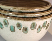 Nesting Bowls in Soft Cream and Sand and Green  Set of Three  for Kitchen , Dining, Entertaining, and Display - Ready to Ship