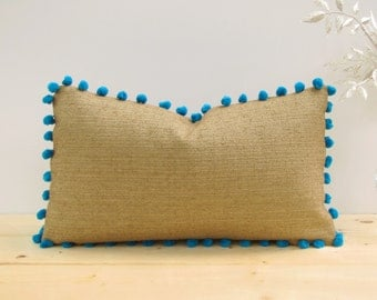 Rustic Turquoise Pom-Pom Pillow Cover