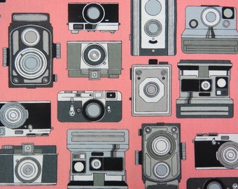 2525C - Retro Cameras Fabric Black/Gray in Pink, Japanese Cotton, Cosmo Textile