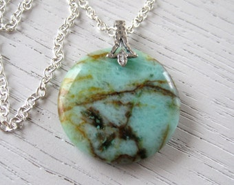 Natural Round Shaped Chrysocolla Pendant Necklace