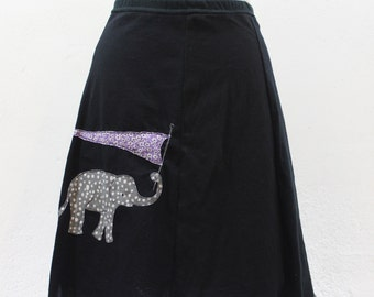 T-Skirt Upcycled, recycled, Black t-shirt skirt with Elephant Appliqué