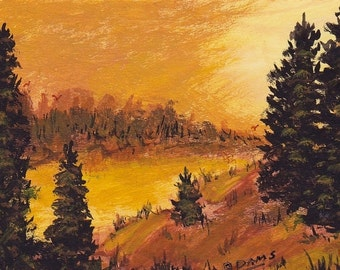 ACEO Sunset Adams Original Collectible Landscape Miniature Painting Evergreen Silhouettes River Flows through Valley Brown Cream Peaceful
