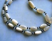 Antique Art Deco Mother of Pearl and Crystal Graduated Beaded Necklace, Vintage MOP Necklace, Downtown Abbey Necklace
