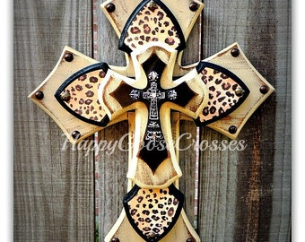 Wall Cross - Wood Cross - X-Small - Leopard / Cheetah with Antiqued Beige and Black (or colors of your choice)