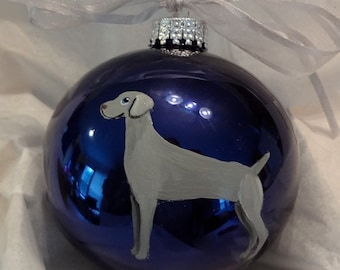 Weimaraner Dog Hand Painted Christmas Ornament - Can Be Personalized with Name