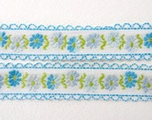 Vintage Trim Woven Jacquard Ribbon Blue Flowers Green Leaves Scalloped Japan rib0155 (1 yard)