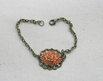 Dark Peach Terracotta Flower Floral Chain Bracelet