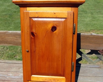 Vintage Heart Pine Raised Panel  Door Free Standing or Hanging Cabinet
