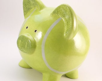 Tennis Ball Piggy Bank - Personalized Piggy Bank - Tennis Bank - Sports Theme Piggy Bank - with hole or NO hole in bottom - Made in USA