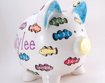 Rainbow Fish Piggy Bank - Personalized Piggy Bank - Clown Fish Bank - Underwater Theme - Under the Sea Bank - with hole or NO hole in bottom