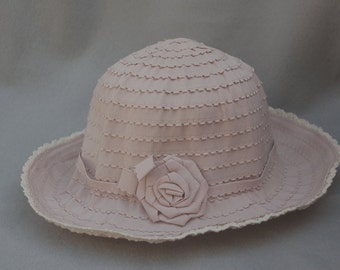 Girls Hat / Pink Ribbon Fabric 3 inch Brim Hat / Girls Sun Hat / Girls Packable Sun Hat / Antique Pink Girls Summer Hat / Girls Brim Hat