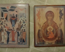 Lot 2 Icons Mother of The unborn & Protector of the Theotokos Made by Carmelite nuns, Vintage items.